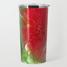 Beautiful Bottle Brush Flower With Garden Background Travel Mug