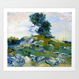 Vincent van Gogh - The Rocks, Rocks With Oak Tree - Digital Remastered Edition Art Print