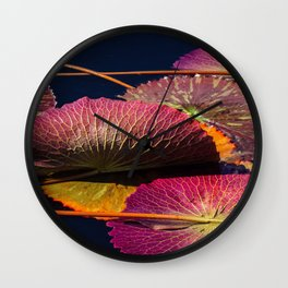 Colorful Nymphaea Tanzanite Lily Pad Leaves Wall Clock