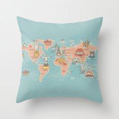 World Map Cartoon Style Throw Pillow