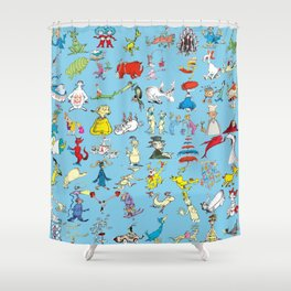 Dr Seuss Characters Shower Curtain