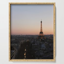 Eiffel Tower During Sunset Serving Tray