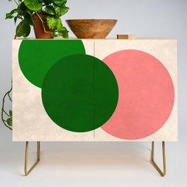 Living Coral Green Vintage Mod Circles Credenza