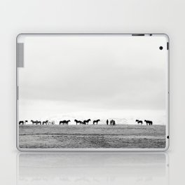 Black and White Horses in Landscape Photograph, Iceland Laptop & iPad Skin