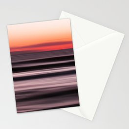 Sunset Shades of Magenta Beach Ocean Seascape Landscape Coastal Fine Art Painting  Stationery Cards