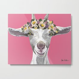 Pink Goat Art, Flower Crown Goat Metal Print