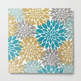 Big Floral Petals in Pale Gold, Teal, Dark an Light Grey Metal Print