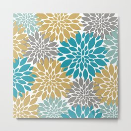 Big Floral Petals in Pale Gold, Teal, Dark an Light Grey Metal Print