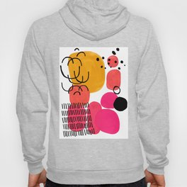 Modern Mid Century Fun Colorful Abstract Minimalist Painting Yellow Pink Bubble Candy Drops Hoody