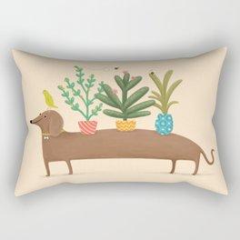 Dachshund & Parrot Rectangular Pillow
