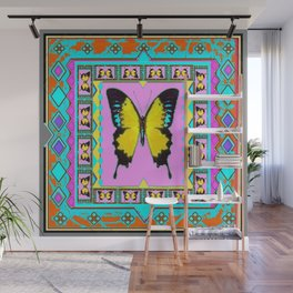 Yellow swallowtail Butterfly Western Style Turquoise Abstract Wall Mural