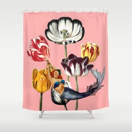 Mermaid Land #collage Shower Curtain