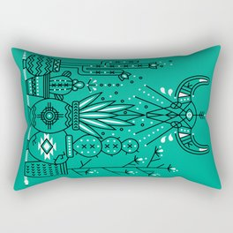 Santa Fe Garden – Turquoise & Black Rectangular Pillow