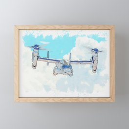 Osprey and the Clouds watercolor by Ahmet Asar Framed Mini Art Print