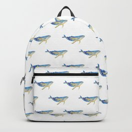Whale fish and jelly fish watercolor Backpack