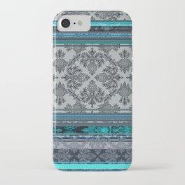 Teal, Aqua & Grey Vintage Bohemian Wallpaper Stripes iPhone Case