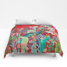 Floral Jungle on Red with Proteas, Eucalyptus and Birds of Paradise Comforters