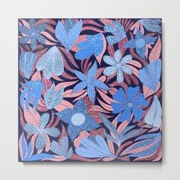 Pastel Blue Pink Floral Leaves Glitter Pattern Metal Print