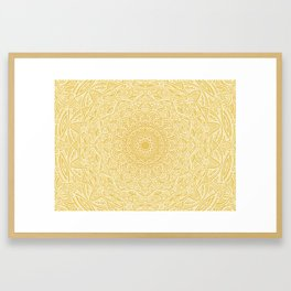Most Detailed Mandala! Yellow Golden Color Intricate Detail Ethnic Mandalas Zentangle Maze Pattern Framed Art Print
