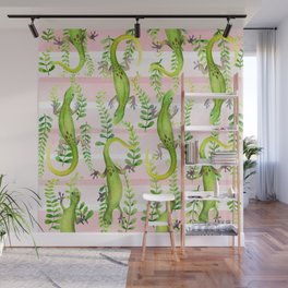 Gecko pattern on pink Wall Mural