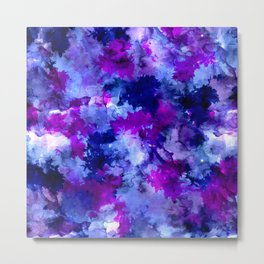 Modern blue purple watercolor brushstrokes paint Metal Print