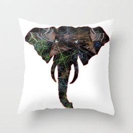 Elephant Web Head 4 Throw Pillow
