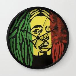 rasta man,vibration,jamaica,reggae,music,smoke,ganja,weed,pop art,portrait,wall mural,wall art,paint Wall Clock