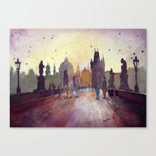 Prague, watercolor explorations in violet  Canvas Print