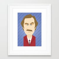 will ferrell Framed Art Prints featuring Will Ferrell as Ron Burgundy by Leo Maia