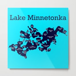 Lake Minnetonka Minnesota Map with Bays - Navy/Aqua - Susanne Johnson Art Metal Print