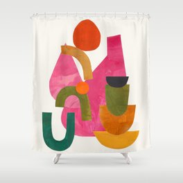 'Autumn Loneliness' Abstract Geometric Shapes Paper Collage Colorful Arrangement Mid Century Modern Cool Funky Style by Ejaaz Haniff Shower Curtain