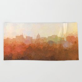 Madison, Wisconson Skyline - In the Clouds Beach Towel