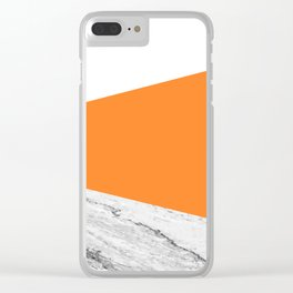 Marble Turmeric Orange Geometry Clear iPhone Case