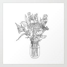 Floral Bouquet in Mason Jar Art Print