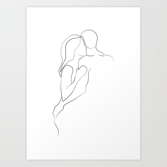 Lovers - Minimal Line Drawing Art Print3 by draw4you