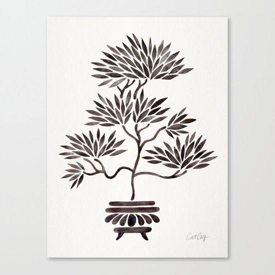 Bonsai Tree – Black Palette Canvas Print