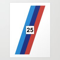 racing Art Prints featuring RACING COLOURS- BMW RACING by MATT WARING