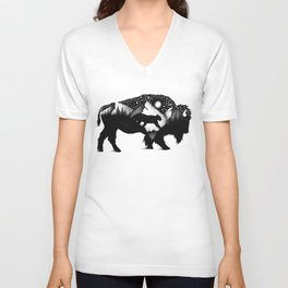 THE BISON AND THE COUGAR Unisex V-Neck