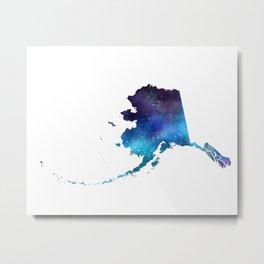 Alaska State Galaxy Map / United States Art Print Metal Print