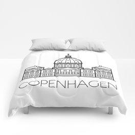 Marble Church Copenhagen Denmark Black and White Comforters