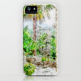 Aquarelle sketch art. Ancient stone buildings and palm tree in Istria, Croatia iPhone Case