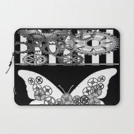 BLACK & WHITE CLOCKWORK BUTTERFLY ABSTRACT ART Laptop Sleeve