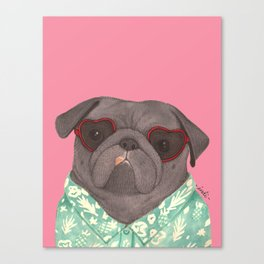 Hawaiian Pug Canvas Print