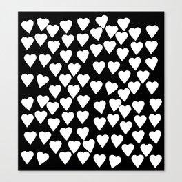 Hearts White on Black Canvas Print