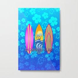 Born To Surf Blue Honu Metal Print