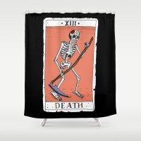 tarot Shower Curtains featuring Tarot Card by BlandinePannequin