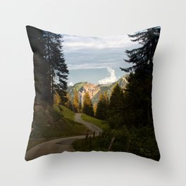through the woods and over the mountains Throw Pillow