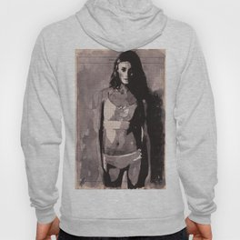 Immagine di donna - ink drawing over vintage book page Hoody