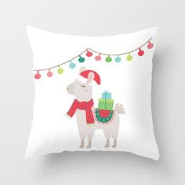 Christmas llamas V Throw Pillow