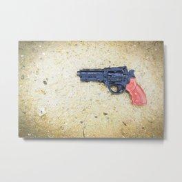 Plastic Gun in Rain Metal Print